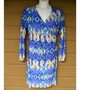 JONES NY Dress, Size L, Bustle, Surplice, LS